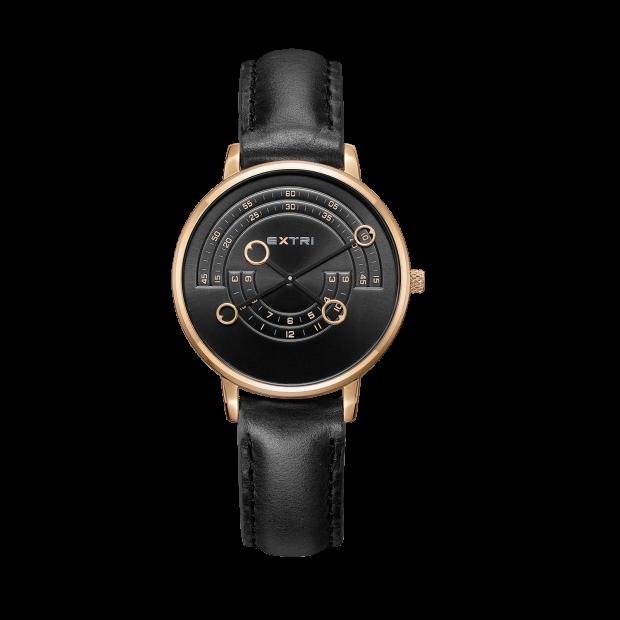 Rosegold case black dial/leather