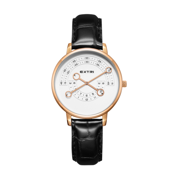 Black leather rosegold white dial