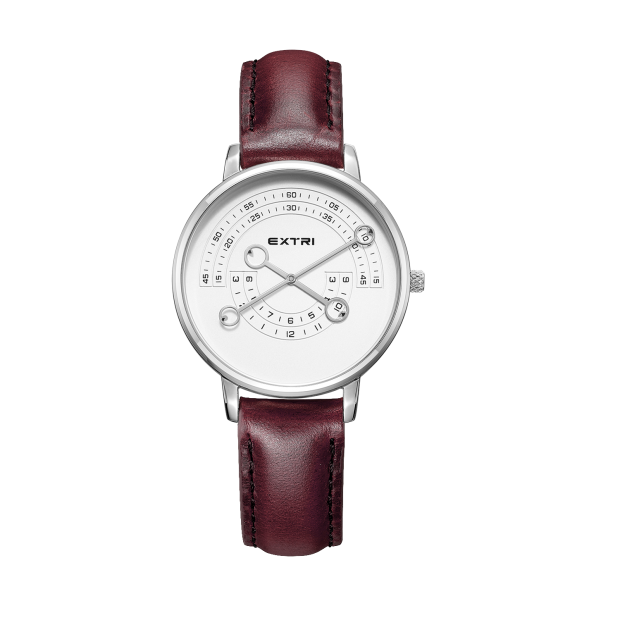 Silver white dial dark Brown leather