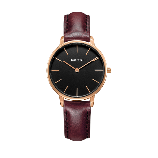 Rosegold black dial brown leather