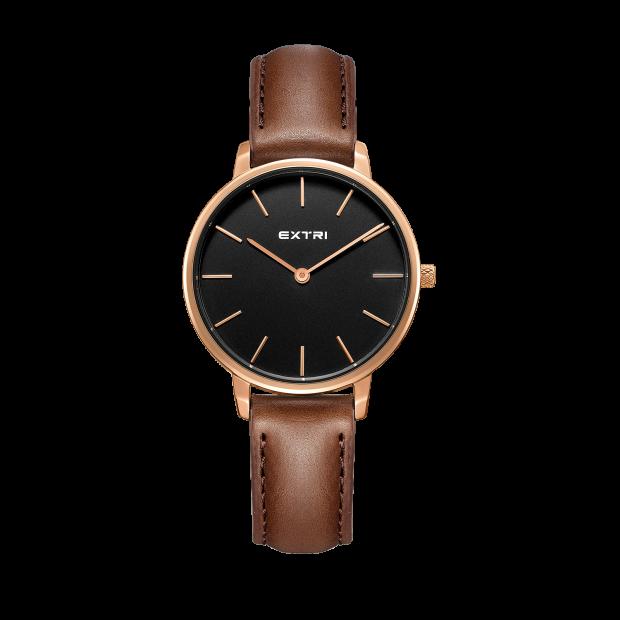 Rosegold black light brown leather