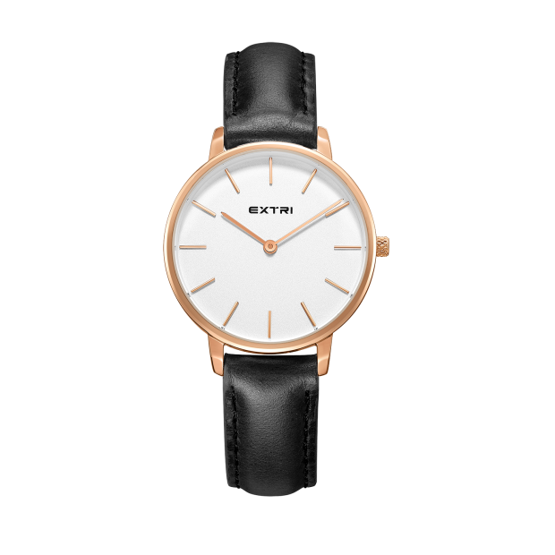 rosegold white dial black leather