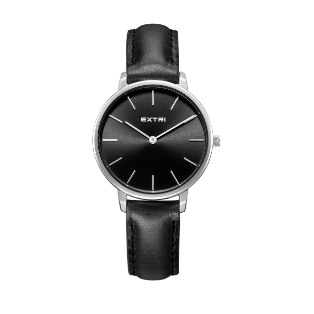 Silver case black leather band