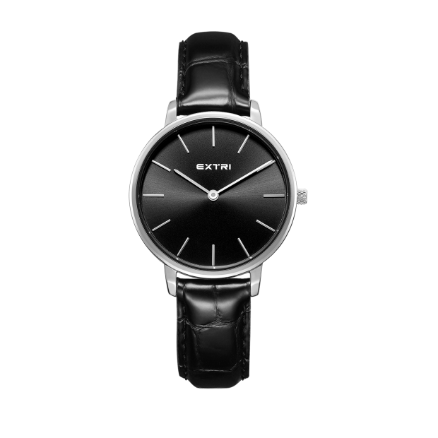 Silver black dial black leather
