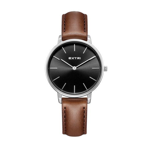 silver case light brown leather