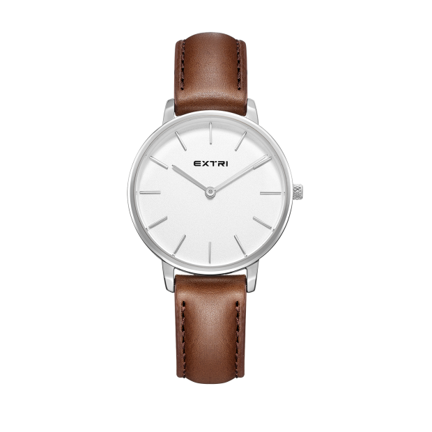Silver white light brown leather