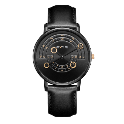 Black case black dial/leather