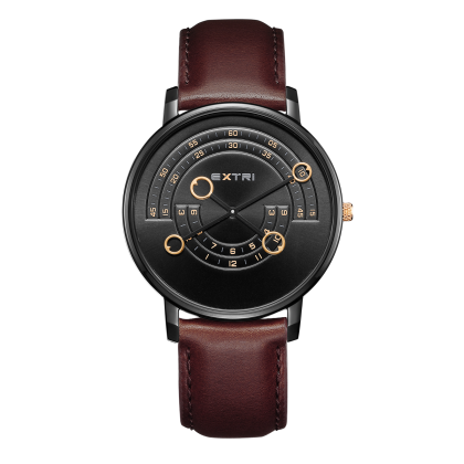 Black case/dial dark brown leather