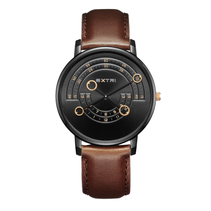 Black case/dial light brown leather