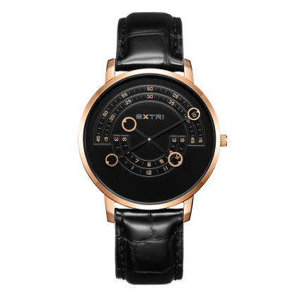 Rosegold/black dial black leather