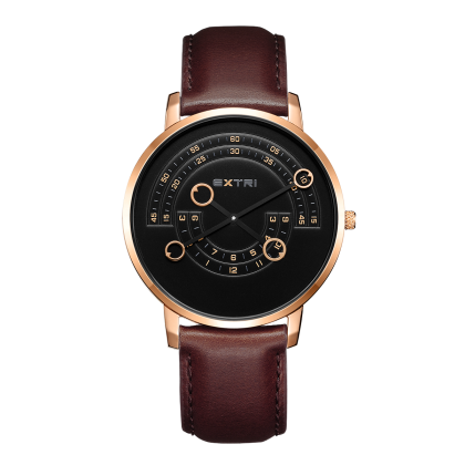 Rosegold case dark brown leather