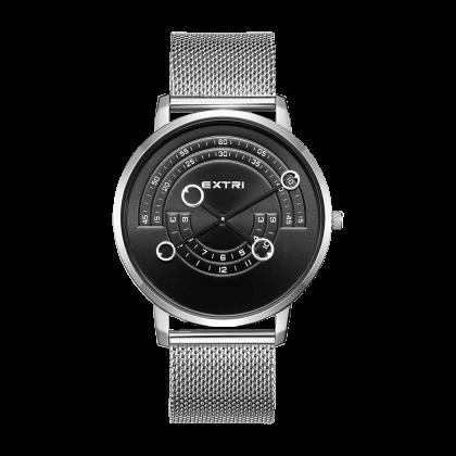 Silver/black dial silver mesh