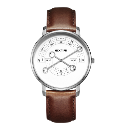 Silver white dial light Brown leather