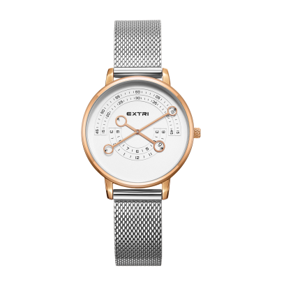 Rosegold white dial silver mesh