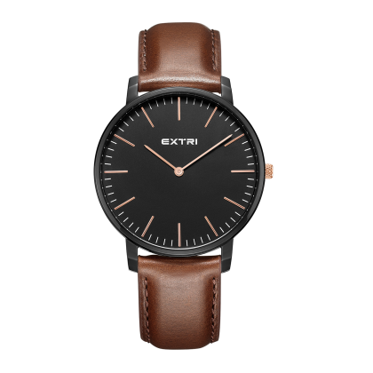 Black dial light brown leather