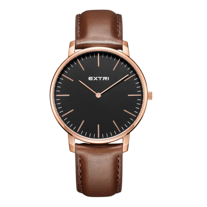 Rosegold dial light brown leather