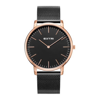 rosegold dial black Mesh band