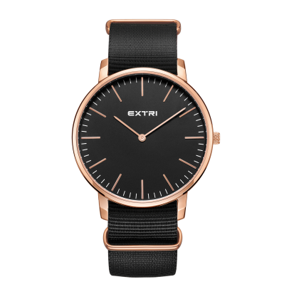 rosegold dial black nylon band
