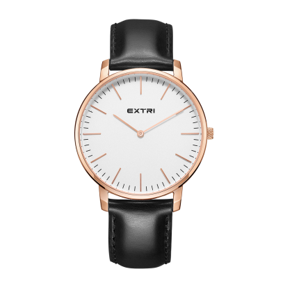 Rose gold case white dial