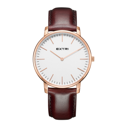 brown leather rosegold white dial