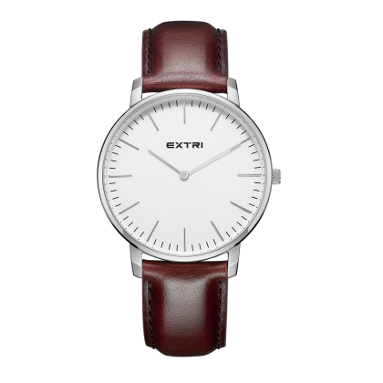 white dial brown leather band