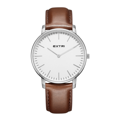 white dial light brown leather