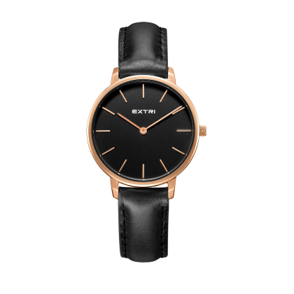 Rosegold case black dial/leather