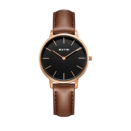 Rosegold black light brown leather