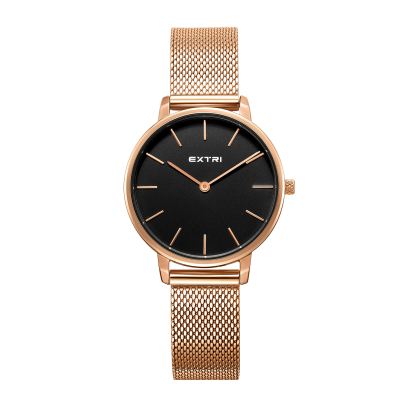 Black dial rosegold Mesh band