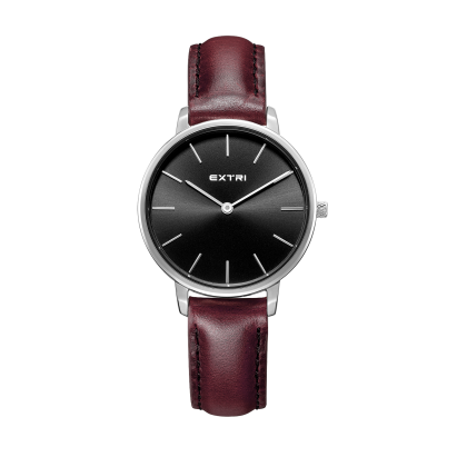 white dial dark Brown leather