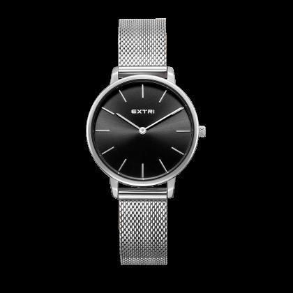 black dial Silver case mesh