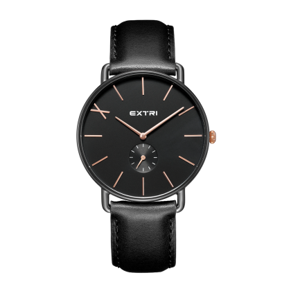 all black case dial leather