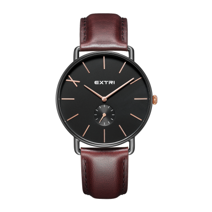 Black dial dark brown leather