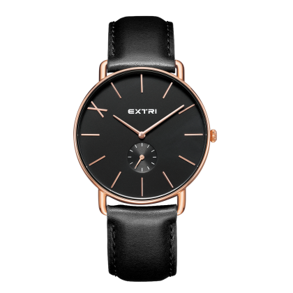 Rosegold black dial black leather