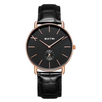 rosegold dial black crocodile leather