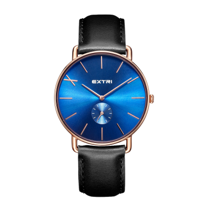 roseglod blue dial black leather