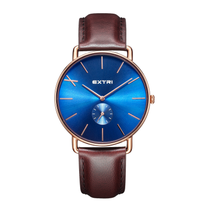 roseglod blue dial brown leather