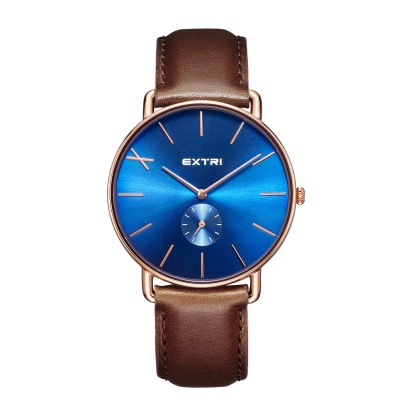 Blue dial light brown leather
