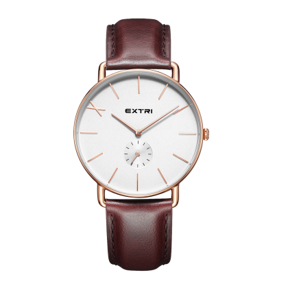 rosegold white dial brown leather