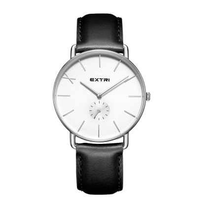 Silver white dial black leather