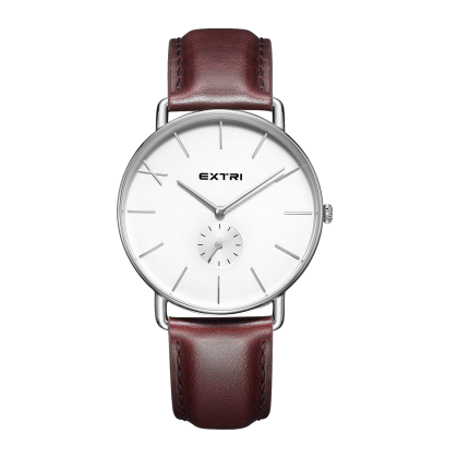 Silver white dial brown leather